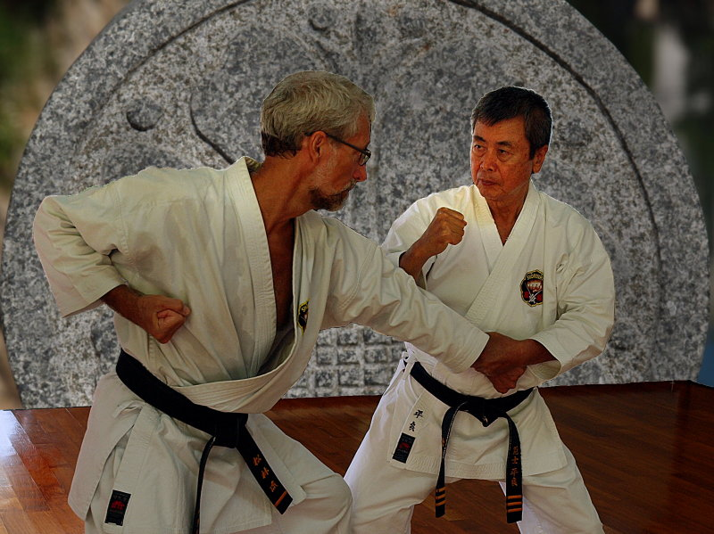 Kaicho Taira demonstrating bunkai with Tuftedal Sensei
